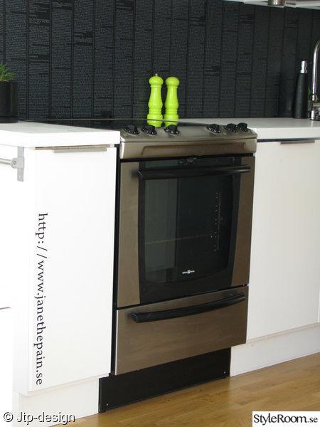 kök,grönt,svart,vitt,spis,hall,luckor,kakel-golv
