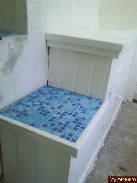 blått kök : mosaik,blått,kök