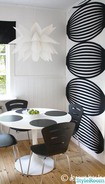 runt bord,ikea,svart,vitt,lampa,tyg,kök