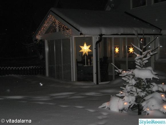 ljusslinga,stjärnljusstake,snö